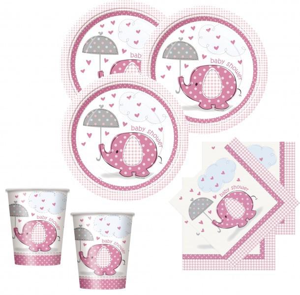 48 teile baby shower deko set rosa elefant 16 personen. Black Bedroom Furniture Sets. Home Design Ideas