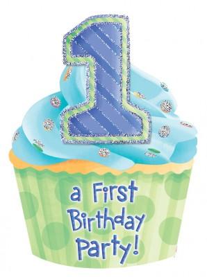 Erster Geburtstag 8 große Glitzer Einladungen