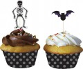 12 Muffin Förmchen mit Fledermaus + Skelett Picks