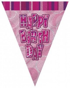 Happy Birthday Wimpel Girlande Pink