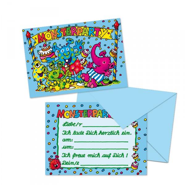8 Einladungskarten kleine Monster