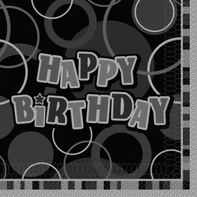 16 happy birthday party servietten schwarz. Black Bedroom Furniture Sets. Home Design Ideas