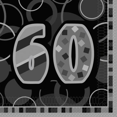 60 geburtstag party servietten schwarz. Black Bedroom Furniture Sets. Home Design Ideas