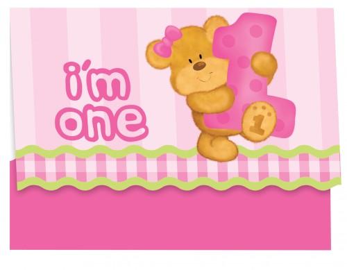 Einladungskarten 1. Geburtstag rosa Teddy