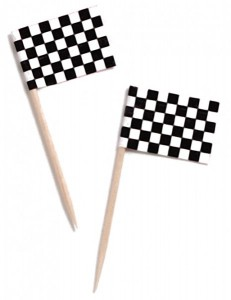 50 Party Picks Schwarz Weiß Checkered Flag
