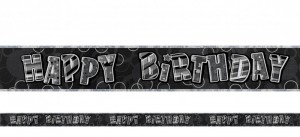Happy Birthday Glitzer Banner Schwarz