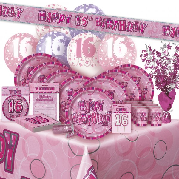 16 servietten zum 16 geburtstag in pink. Black Bedroom Furniture Sets. Home Design Ideas