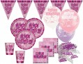 8 glitzernde Happy Birthday Party Becher Pink