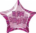 Happy Birthday Glitzer Folien Ballon Pink