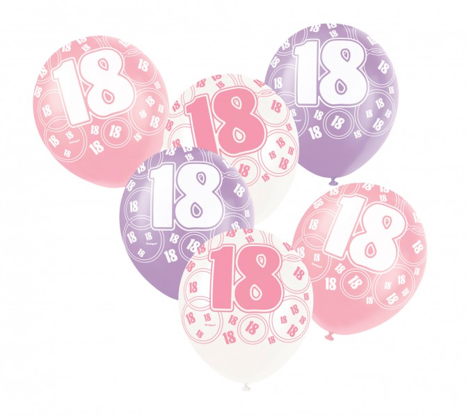 6 luftballons zum 18 geburtstag in pink. Black Bedroom Furniture Sets. Home Design Ideas