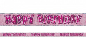 Happy Birthday Glitzer Banner Pink