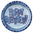 8 glitzernde Happy Birthday Party Teller Blau