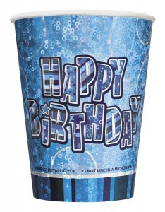 8 glitzernde Happy Birthday Party Becher Blau
