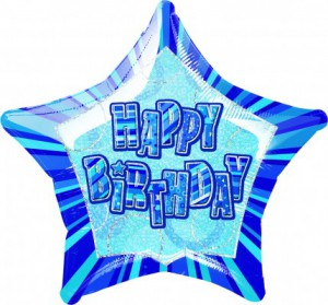 Happy Birthday Glitzer Folien Ballon Blau