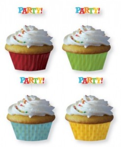12 Muffin Förmchen mit Party Picks