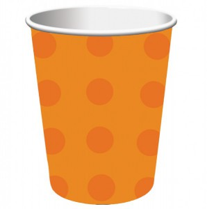 8 Becher orange Punkte