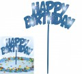 Blinkender Happy Birthday Glitzer Tortenpick in Blau