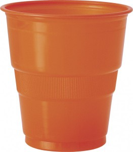 12 Plastik Becher Orange – Bild 1