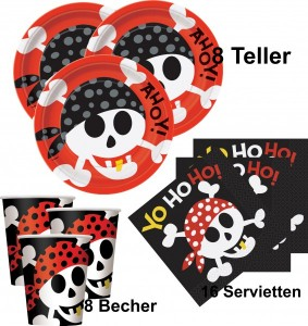 32 Teile Piraten Spaß Party Set für 8 Kinder