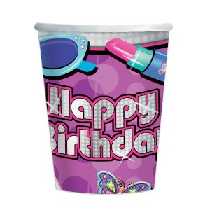 8 bunte Happy Birthday Glitzer Girl Becher