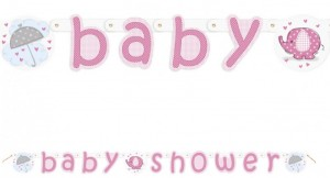 Baby Elefant Rosa Baby Shower Girlande
