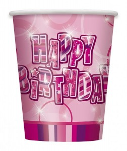 8 Happy Birthday Party Becher Pink