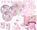 106 Teile Baby Shower Deko Set Rosa Storch 16 Personen