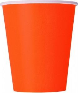 8 Papp Becher in Orange
