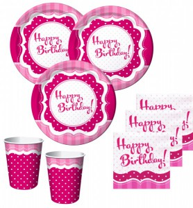 50 Teile Party Set Happy Birthday Perfectly Pink für 16 Personen