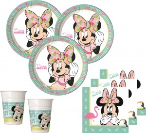 52 Teile Disney Minnie Maus Tropical Party Deko Basis Set - für 16 Kinder – Bild 1