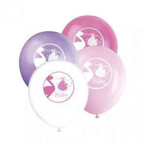 8 Luftballons Baby Storch rosa