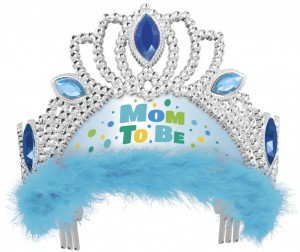 Baby Shower Tiara Mom to Be in Blau