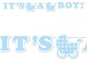 It's a Boy Baby Girlande am Satinband Blau