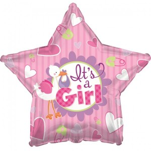Folien Ballon Babyshower Storch Pink