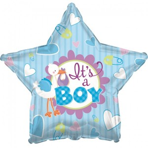 Folien Ballon Babyshower Storch Blau