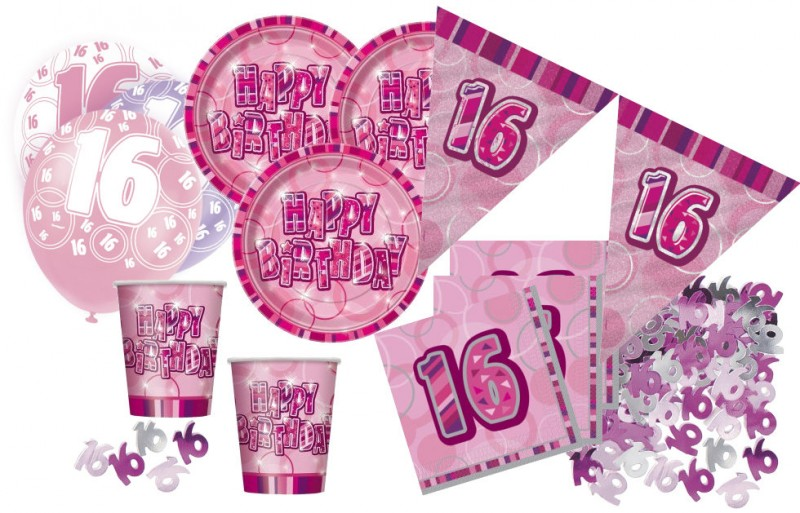 16 geburtstag 56 teile sweet sixteen party set pink 16 personen. Black Bedroom Furniture Sets. Home Design Ideas