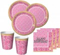 48 Teile Happy Birthday Western Bandana Pink Party Deko 16 Personen