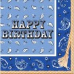 32 tlg Happy Birthday Westernreiten Bandana Blau Party Deko 8 Personen