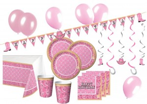 47 Teile Happy Birthday Western Bandana Pink Party Deko für 8 Personen