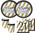16 Servietten 21. Geburtstag Black and Gold
