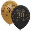 6 Luftballons 30. Geburtstag Black and Gold