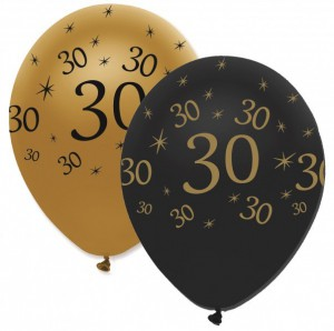 50 Luftballons 30. Geburtstag Black and Gold