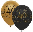 6 Luftballons 40. Geburtstag Black and Gold