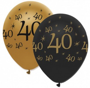 50 Luftballons 40. Geburtstag Black and Gold