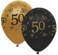 6 Luftballons 50. Geburtstag Black and Gold