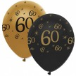 6 Luftballons 60. Geburtstag Black and Gold
