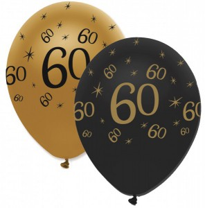 50 Luftballons 60. Geburtstag Black and Gold