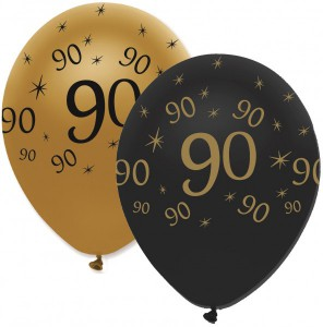 6 Luftballons 90. Geburtstag Black and Gold