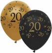 6 Luftballons 20. Geburtstag Black and Gold