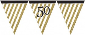 Wimpelkette 50. Geburtstag Black and Gold